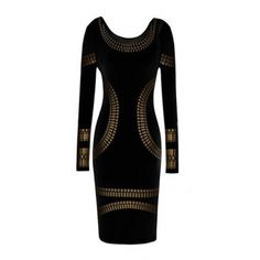 AUD14.13Geometric Pattern Sexy O Neck Long Sleeve Sheath Black Spandex Backless Halter Mini Dress