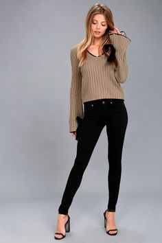 Verses From The Heart Taupe Bell Sleeve Knit Sweater 2