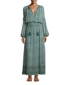 Floral-Print Bishop-Sleeve Blouson Maxi Dress, Green/Multi by Talitha at Bergdorf Goodman.