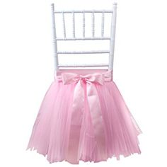 OurWarm Tulle Tutu Chair Skirt with Sash Bow for Wedding, Baby Shower, Birthday, New Year Party, Dining Room & Home Decoration Tutu Skirt (1, Pink)