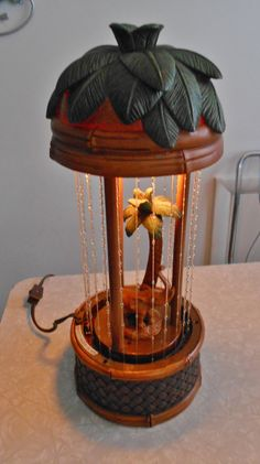 Vintage Rain Lamp Resin with Elephant and Palm Tree...Works Great! by RadiogirlCarolyn on Etsy
