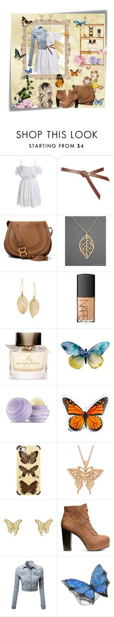 """""""Butterfly Magic"""" by alexandras666 ❤ liked on Polyvore featuring Post-It, Topshop, Chloé, Lulu*s, NARS Cosmetics, Burberry, Eos, Dot & Bo, Casetify and Allurez"""