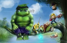 This image is a prime example of a fan-made cross-over, where the characters from Marvel's Avengers appear in a position and location mimicking that of Hayao Miazaki's My Neighbor Totoro, a child's anime about two girls and a giant forest spirit.