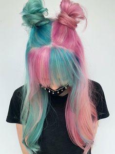 Pink Hair Dye, Hair Dye Colors, Dye My Hair, Cute Hair Colors, Brown Hair Dyed Purple, Dyed Black Hair, Light Blue Hair, Pink And Black Hair, Green Hair