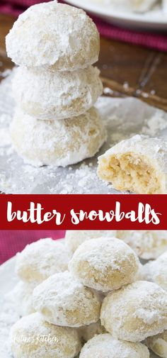 These butter snowball cookies are a Christmas favorite! Make this easy recipe with pecans or walnuts. These melt in your mouth holiday cookies are rolled in powdered sugar. # Easy Recipes for 1 Butter Snowball Cookies Cookies Decorados, Galletas Cookies, Xmas Cookies, Easy Christmas Cookies, Shortbread Cookies, Powdered Sugar Cookies, Sugar Cookies Recipe, Yummy Cookies, Easy Butter Cookies