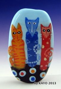 """THE THREE WISE CATS"" ByKAYO a Handmade OOAK Lampwork Art Glass Focal Bead SRA"
