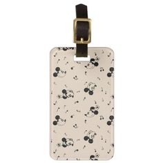 Vintage Mickey & Minnie Music Pattern Luggage Tag Classic Mickey Mouse, Mickey Mouse Club, Mickey And Friends, Minnie Mouse, Vintage Luggage, Custom Luggage Tags, Vintage Travel, Gift For Music Lover, Music Gifts