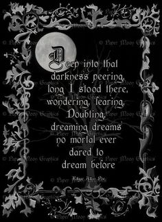 Spooky - The Raven - Edgar Allan Poe - hand-painted inch Halloween art… Gothic Quotes, Dark Quotes, Nice Quotes, Greek Quotes, Awesome Quotes, Allan Poe, Edgar Allan, Poem Quotes, Words Quotes