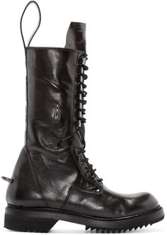 Rick Owens - Black Leather Lace-Up Boots