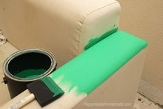 Find out how to easily paint a sofa, couch, chair or loveseat to give it new life! Painted sofas are fantastic - quick and easy!