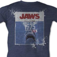 Jaws Shirt Jaws Population Adult Blue Tee T-Shirt