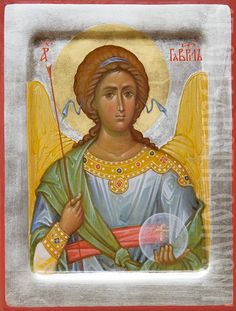 A handpainted icon of Holy Archangel Gabriel.    Learn more: https://catalog.obitel-minsk.com/gabriel-the-archangel-imp-02-01-24.html    #CatalogOfGoodDeeds #OrthodoxIcon #Angel #Icon #Iconography