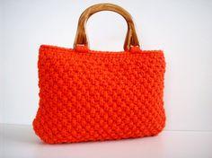 Knit Bag NzLbags  HANDBAG  Handmade Knitted Bag ORANGE  by NzLbags, $75.00