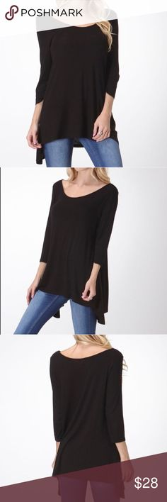 NWT Black Designer Scoop Neck Shirt w/ Side tails This New Black Swing Shirt is necessity in any wardrobe. If you're going to buy basic black, make sure it has some flare! Whether you're running errands, attending events or just hanging at home, you'll love this grab and go shirt. Has some stretch to it too! Bellino Clothing Tops Tunics