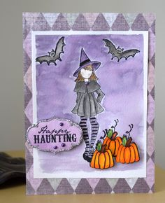 Little Miss Witchy Poo. Stamp set by Julie Nutting (Prima) Made by Ann Marie Ruda. Background and witch colored with Distress Markers. Pumpkins colored with Copics.