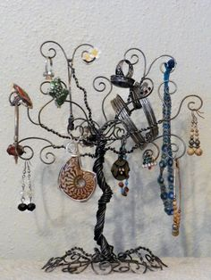 Jewelry tree wire stand earring hanger organizer by ivysgembox, $17.00