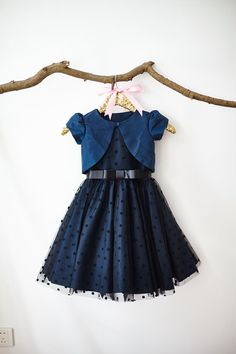 Navy Blue Taffeta Jacket Polka Dots Tulle by MillyWeddingshop Girls Frock Design, Kids Frocks Design, Baby Frocks Designs, Baby Dress Design, Baby Girl Frocks, Frocks For Girls, Dresses Kids Girl, Kids Outfits, Kids Dress Wear