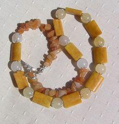 Yellow & Honey Jade Crystal Gemstone Necklace  by SunnyCrystals, £14.25