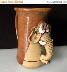 Mothers Day Sale Large Studio Pottery Funny Face Elephant Mug Signed by JigsandLarry on Etsy Elephant Teapot, Elephant Face, Ceramic Elephant, Pottery Mugs, Ceramic Pottery, Ceramic Cups, Pottery Ideas, Animal Print Furniture, Ceramic Monsters
