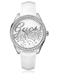 Montre Guess Dame dont le bracelet est en cuir blanc. Cette montre Guess possède un boitier en acier serti de zirconiums. Le cadran est orné de magnifiques zirconiums.