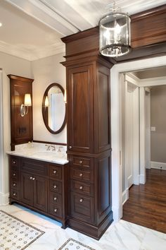 "Traditional Master Bathroom with specialty door, Flush, 1/2"" Engineered T&G Walnut Hand Scraped Pikes Peak 5"" Wide"
