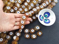 6 Caramel Honey Yellow Evil Eye Nazar Glass Bead Traditional Turkish Handmade Protective Lucky Amulet 26 mm VALUE PACK Turkish Glass Beads