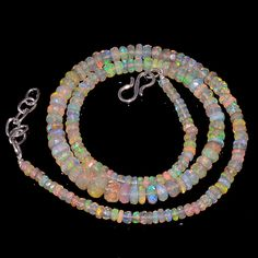 """58CRTS 3.5to6.5MM 18"""" ETHIOPIAN OPAL FACETED RONDELLE BEADS NECKLACE OBI3134 #OPALBEADSINDIA"""