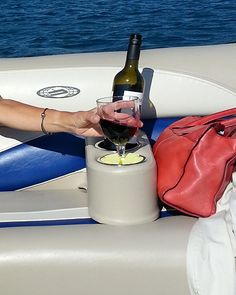 The Wine Widgy makes sure your stemware can fit into any cup holder!  www.winewidgy.com  wine, boating, boating accessories, marine, unique gifts, boat accessories,  made in Michigan, Michigan products, Made in the USA