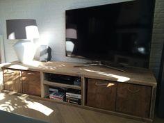 Tv meubel van oud steigerhout met open vakken | Tv meubels | JORG`S Houten Meubelen Custom Entertainment Center, Flat Screen, Blood Plasma, Flatscreen, Dish Display