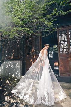 Gown from Badgley Mischka Spring 2016 |  #wedding #luxury #fashion #badgleymischka #weddinggown #gown #lace #sheer #openback