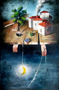 '' Dream of a child '' cm ,oil on canvas by George Nikas Greek Art, Conceptual Art, Printmaking, Surrealism, Oil On Canvas, Fairy Tales, Contemporary Art, Original Paintings, Places To Visit
