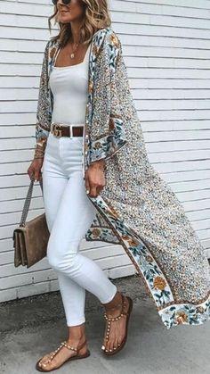 Long Kimono Outfit, Look Kimono, Long Blouse, Boho Work Outfit, Kimono And Jeans, Kimono Fashion, Boho Fashion, Fashion Outfits, Fashion Blouses
