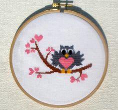 Cross stitch pattern PDF Cute owl falling in love Instant Download