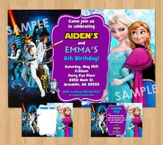 Double Birthday Party Invitation - Make their birthday special with this fun and unique Star Wars and Frozen party invitation featuring the original Star Wars cast and Elsa & Anna! This listing is for one digital invitation personalized with your event details. You will receive a printable JPG file via email, no physical items will be shipped. You will be responsible for the printing of your invitations.    ★ Receive 1 high resolution Photo Invitation (JPEG file) via email for printing. ...