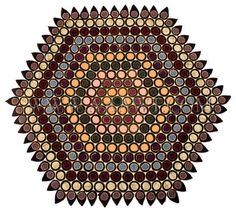 Antique Penny Rug, Felted Wool, Appliqued, entire view