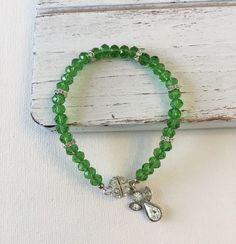 Items similar to Green Beaded Bracelet - Beaded Bracelet - Rhinestone Spacers - Spring Bracelet - Summer Jewelry - Gift for Her - Handmade Jewelry - BoHo on Etsy Summer Jewelry, Simple Jewelry, Boho Jewelry, Jewelry Gifts, Jewelry Ideas, Beaded Jewelry, Earrings Handmade, Handmade Jewelry, Green Gifts
