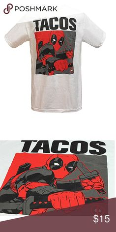 Marvel Deadpool Tacos Men's T-shirt 100% Cotton Officially Licensed Marvel Product Listed in Mens Sizing High Quality Deadpool Tacos Front Graphic Machine Wash Cold, Tumble Dry Low Marvel Shirts Tees - Short Sleeve