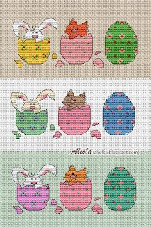 Cross-stitch Rabbit & Cat hiding in eggs... no color chart available, just use the pattern chart as your color guide.. or choose your own colors...