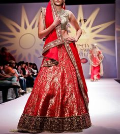 Red Zardozi Banarasi Silk Lehenga Set #indianroots #ethnicwear #lehengaset #silk #zardozi #occasionwear #eveningwear #summerwear