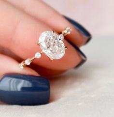 2 CT Oval Engagement Ring, Dainty Moissanite Engagement Ring