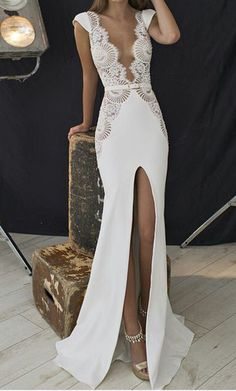 Deep V Neck Floral Hollow Split Sexy Party Prom Dresses 2017 new style fashion evening gowns for teens girls