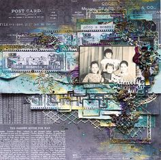 "Scrapiniec inspirations on blogspot: Mixed-Media layout ""Family"" by Elena Lishchenko"