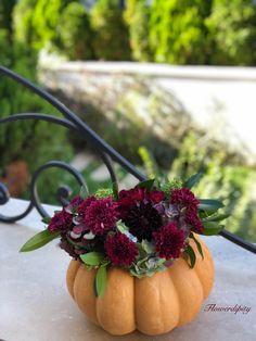 This is what I call a good looking pumpkin 🎃 . Autumn Flowers, Flowers Decoration, Fruit Arrangements, Fancy Party, Bordeaux, Floral Design, How To Look Better, Pumpkin, Party Ideas