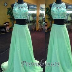 Mint chiffon two pieces sleeveless long prom dress, homecoming dress 2016, cute round neck evening dress for teens, modest occasion dress from #promdress01 #promdress www.promdress01.c... #coniefox