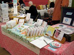 craft fair table setup, handmade cards