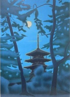 Ikuo HIRAYAMA (1930~2009), Japan--turquoise, blue, azul... with framed moon