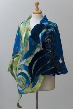 Nuno felted scarf, felted scarf, felt scarf, Nuno felt,silk scarf, wool, silk…