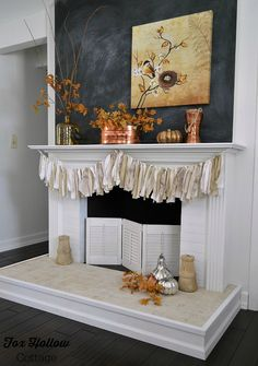 Fox Hollow Cottage Fall Mantel - DIY Home Decorating for Autumn -  #damagefreediy #Fall #ad #manteldecor