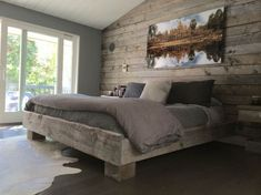 The Sanded Gray Board accent wall creates such a nice feel for this bedroom! Products Used: Sanded Gray Board Plank Accent Walls In Living Room, Accent Wall Bedroom, Bedroom Decor, Master Bedroom, Bedroom Ideas, Bedroom Headboards, Men Bedroom, Reclaimed Wood Bedroom, Reclaimed Wood Accent Wall