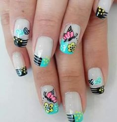 Mariposa Square Nail Designs, Diy Nail Designs, Pretty Nail Designs, Crazy Nail Art, Crazy Nails, New Nail Art, Nails Now, Toe Nails, French Nails
